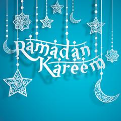 Ramadan Kareem Papercut Style with Islamic Crescent Star