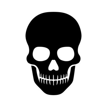 Death skull or human skull flat icon for games and websites