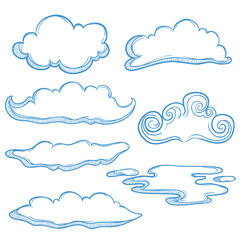 Set Of Unique Cloud With Outline And Sketchy Style