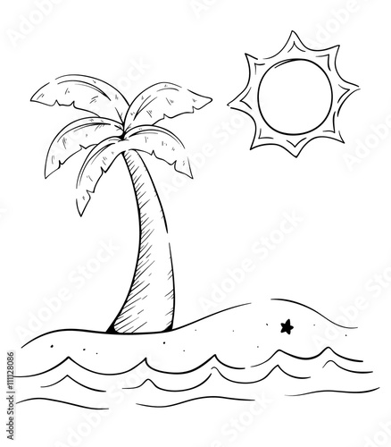 sketchy palm tree on the beach with ocean wave sun and starfish With Eat Web 9Food Crcket-Sun sketchy palm tree on the beach with ocean wave sun and starfish