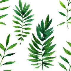vector seamless pattern with watercolor green leaves