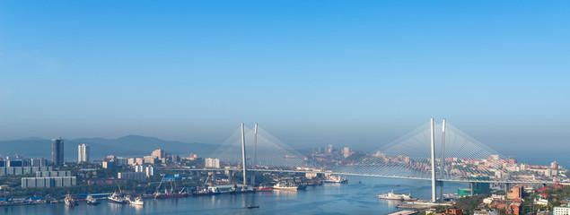 Vladivostok cityscape daylight view. Panorama.