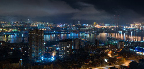 Vladivostok cityscape, night view.