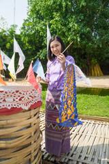 Young Thai girl at temple in songkran festival ,Chiangmai Thailand.