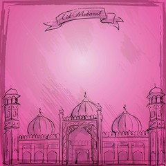 Vector Mosque sketch islamic greeting background Eid Mubarak