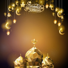 Ramadan Kareem glow gold crescent and star islamic greeting background