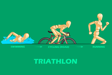 Concept of Triathlon sports with wooden human mannequin