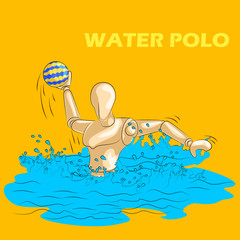 Concept of Water Polo sports with wooden human mannequin