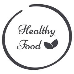 vector grey circle Healthy Food logo symbol with leaves