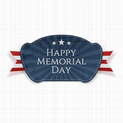 Happy Memorial Day greeting Badge with Ribbon
