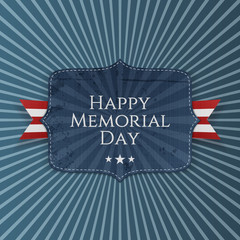 Happy Memorial Day greeting Sign with Ribbon