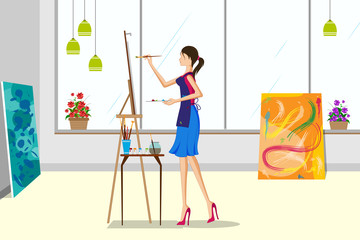 Beautiful woman doing canvas painting