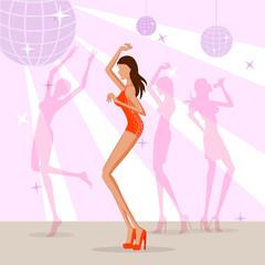 Beautiful woman dancing in disco club