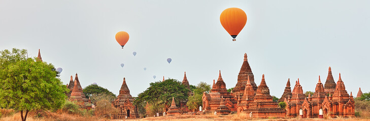 Balloons over Temples in Bagan. Myanmar.