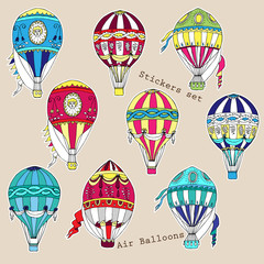 Colored air balloons stickers set