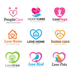 Love care and heart symbol logo set for Eco, home, pets, real estate brand identity