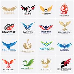 Animal logo collection,Eagle Logo set,bird logo,Phoenix logo,Vector Logo template