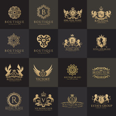 Luxury royal crest logo collection design for hotel and fashion brand identity