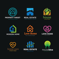 Real Estate Logo Set. House Logo Collection. Buildings Logo Set.