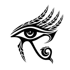 Horus eye, falcon god, feathers, protection symbol