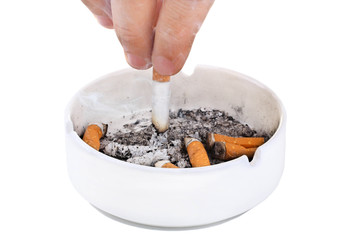 man strusevich the ashes from the cigarette with an orange filter in the ashtray on white isolated background