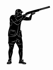 Silhouette trap shooter. vector drawing