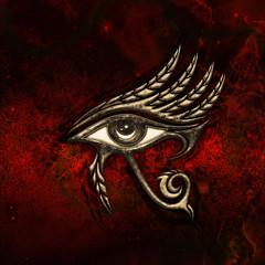Horus eye, falcon god, feathers, protection symbol