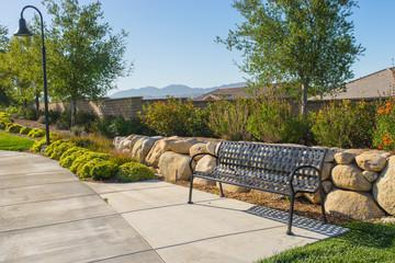 Park Sidewalk and Bench
