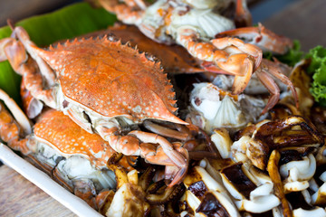 Grilled crabs and squids