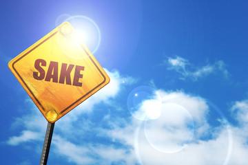 sake, 3D rendering, a yellow road sign