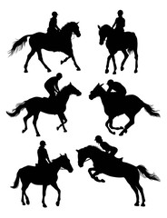 Equestrian Sports Silhouettes, art vector design