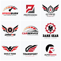 Rock and Automotive logo set design for car auto services and transports business identity
