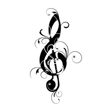 Clef, sheet, music, note, ornaments, floral,