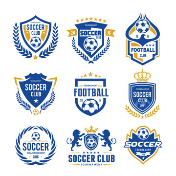 Football and soccer college vector logo set template