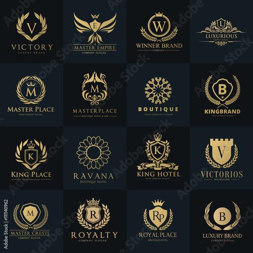 Luxury logo set,Best selected collection,Hotel logo,crest logo set,boutique logo,fashion logo, premium logo design.Vector logo Template