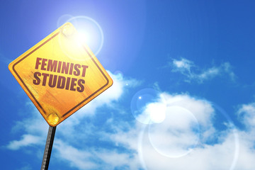 feminist studies, 3D rendering, a yellow road sign