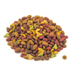 dry cat food on a white background