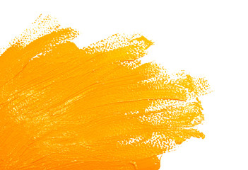 Ochre strokes of the paint brush isolated