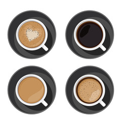 Coffee cup set top view