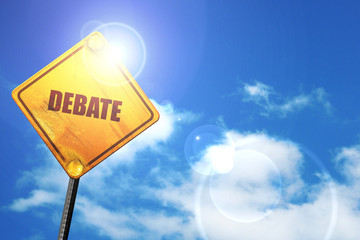 debate, 3D rendering, a yellow road sign