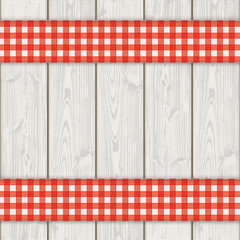 Wooden Planks Double Red Checked Tablecloth
