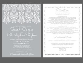 Silver Wedding Invitation Card Invitation with ornaments
