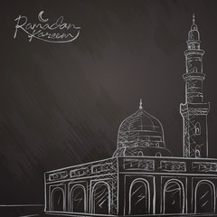 Ramadan Kareem background line mosque sketch for greeting banner