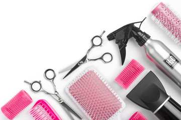 Different barber shop tools isolated on white background with copyspace