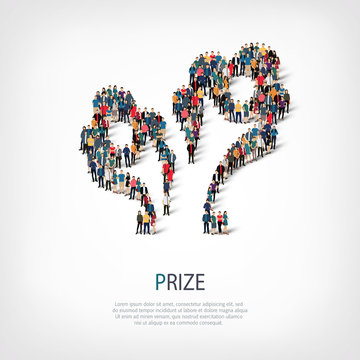 prize people sign 3d