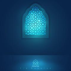 Eid Mubarak greeting card template mosque window