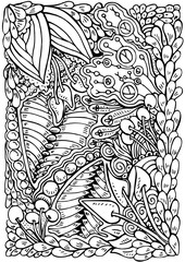 Vector hand drawn pattern for coloring book.