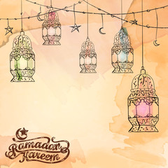 Arabic lantern islamic background design for Ramadan Kareem greeting