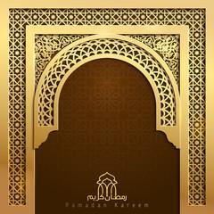 Ramadan Kareem greeting banner background mosque door with arabic pattern