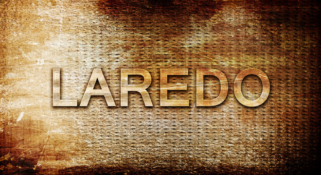 laredo, 3D rendering, text on a metal background